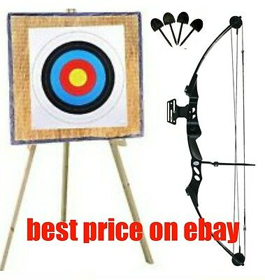 55lb High Powered Adult Compound bow 90x90 straw wooden stand 20 free target