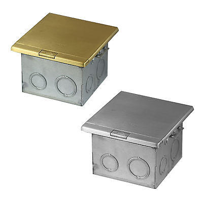 Stainless or Brass Flat Push Floor Box W/ 20A TWR Duplex Receptacle & RJ45 Ports