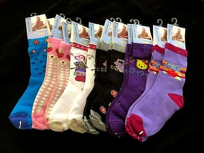 12 pairs Kids Girls Socks Size 5-8 Cotton Spandex Brand New BULK