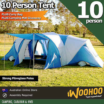 10 Person Tent Camping Mat Man X Large Family Blue Tent Vestibule Shelter Camp