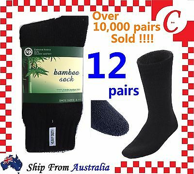 12Pr MEN MENS BAMBOO Thick WORK SOCKS Heavy Duty CUSHION Size6-11,11-13 Bulk NEW