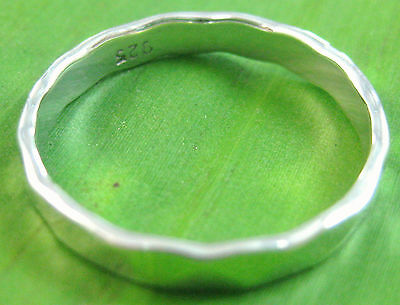 "925 sterling silver ""THICK & SOLID"" FLAT 3mm HAMMERED wedding band Ring BOY GIRL"