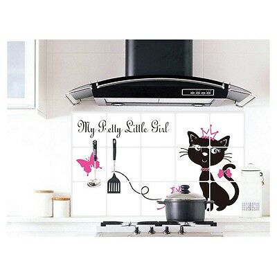 Black Cat Cover Kitchen Decor Oil Proof Aluminum Foil Wall Sticker Paper Tool