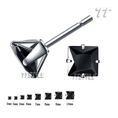 TTStyle Stainless Steel Black CZ Square Stud Earrings 3mm-10mm Single/a Pair NEW