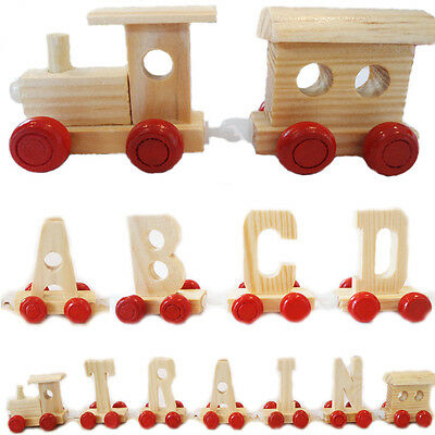 Alphabet Train Wooden Personalised NAME Kids Toy Carriage Engine Letters Play