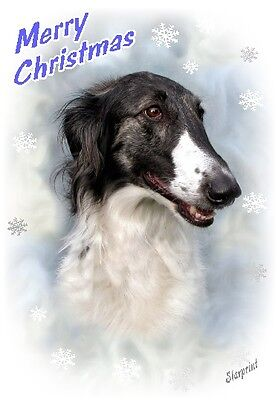 Borzoi / Russian Wolfhound Dog A6 Christmas Card Design XBORZ-6 by paws2print