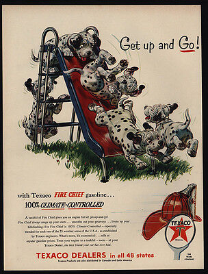 1954 Cute DALMATIAN Puppies Play On Slide- Dogs - TEXACO - VINTAGE AD