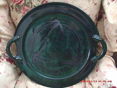 "Benjamin Burns 19"" Bamboo Japanese Style Seagrove Nc Art Pottery Handled Tray"