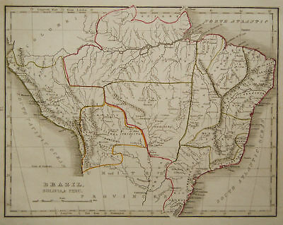 1835 Genuine Antique map of central S. America Bradford