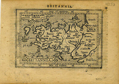 1609 Genuine Antique miniature map of  west France. Britannia region. Ortelius