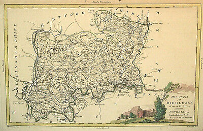 1779 Genuine Antique Hand Colored Map Middlesex Co, England. Cartouche. Zatta