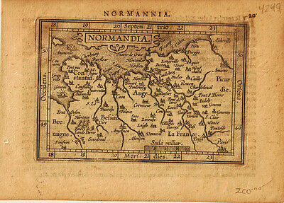 1609 Genuine Antique miniature map northwest France. Normandy region. Ortelius