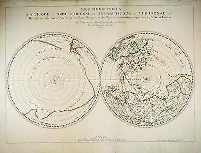 1657 Genuine Antique hand colored map Hemispheres Polar Projection. by N. Sanson