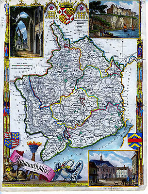 c.1840 Genuine Antique hand colored map of Monmouthshire, England. Moule