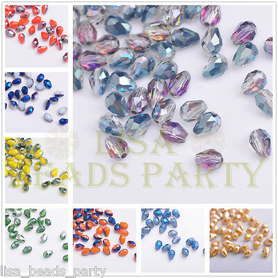 Wholesale 5x3mm Teardrop Faceted Crystal Glass Jewelry Making Loose Small Beads