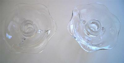 2  VINTAGE  Glass Candle Holders