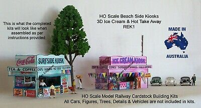 HO Scale Kiosks Ice Cream & Hot Take Away 3D Model Railway Building Kit REK1
