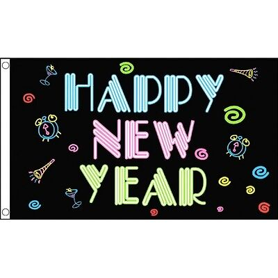 Celebration Party Decoration Happy New Year Flag 5 x 3/' Black and Neon