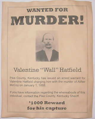 Valentine Wall Hatfield Wanted Poster, Hatfields McCoys