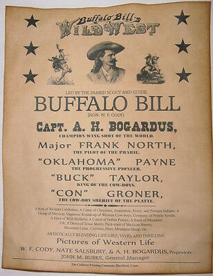 Buffalo Bill Cody Wild West Show Poster, old west, western, wanted