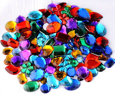 Mixed Acrylic Gemstones Gems Jewels Craft Embellishments Cards 100g 250g