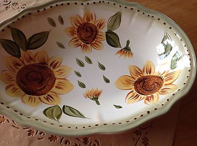 Hand Painted Sunflower Large Oval Ceramic Serving Dish Bowl