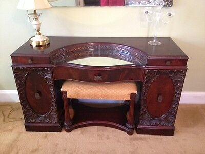 VINTAGE Antique Mahogany Vanity Stool From Williamsport PA Furniture............