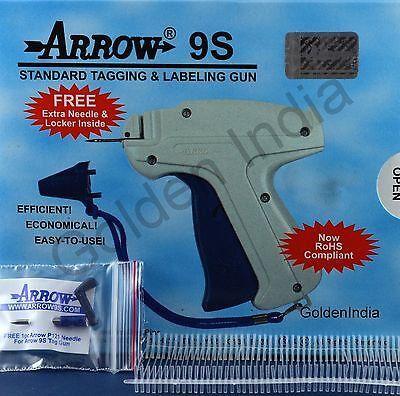 "Arrow 9S Price Tag Gun 1 Extra Needle 1000 1"" Barbs Clothing Tagging Attacher"