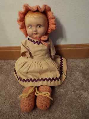 Vintage Composition Doll With Staw in Body (Very Old)