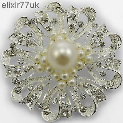 """New 2.6"""" Silver Flower Large Pearl Brooch Diamante Crystal Decoration Broach Uk"""