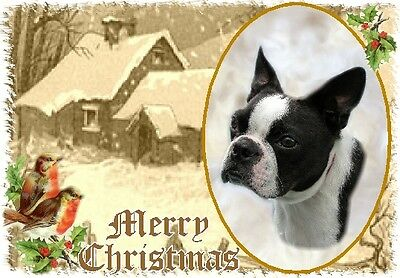 Boston Terrier Dog A6 Christmas Card Design XBOSTON-2 by paws2print