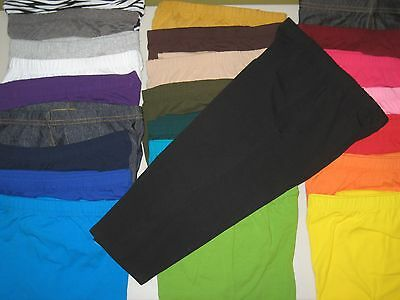 Cotton Spandex Capri Length Leggings Pants Misses Women's Plus Size S-5XL USA