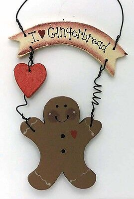 Country I Love GINGERBREAD Sign Primitive Vintage Kitchen Decor Plaque Browns