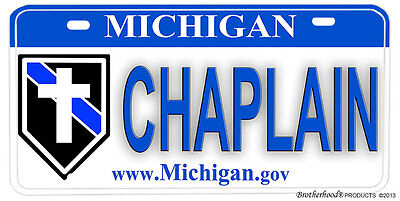 Michigan Police Sheriff Chaplain NOVELTY License Plate - Chaplain with Insignia