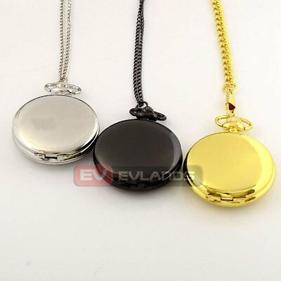 Antique Smooth Pocket Watch Glossy Necklace Pendant Gift Chain Quartz Steampunk