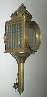 """Antique  Brass Architectural Carriage Porch Lamp Wall Lamp Bubbled Glass 16.1"""""""