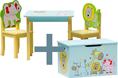 Table and chairs with chestbench -SAFARI- Wooden Set Kids Children Play Toybox