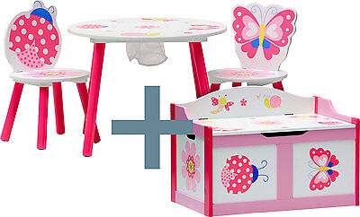 Table and chairs with chestbench - PAPILLON - Wooden Set Kids Children Toybox