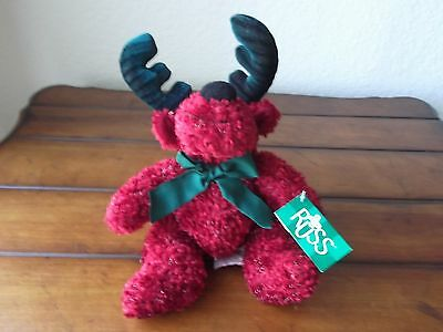 "RUSS ""TWINKLE"" REINDEER MOOSE RED & GREEN  9"" NWT"