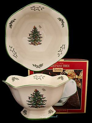 Spode Christmas Tree Fluted Hexagonal Footed Bowl