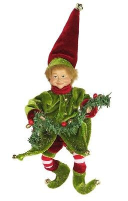 """8"""" Whimsical Christmas Holiday Elf W/garland - Red/green E20801"""