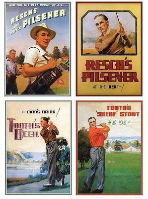 Reschs tooths golf print 4 set classic retro beer premium 250gsm satin poster
