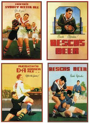 Reschs tooths rugby print 4 set classic retro beer premium 250gsm satin posters