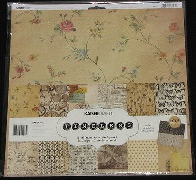 "Kaisercraft 'TIMELESS' 12x12"" Paper Pk + Stickers Vintage KAISER *Deleted 2 Left"