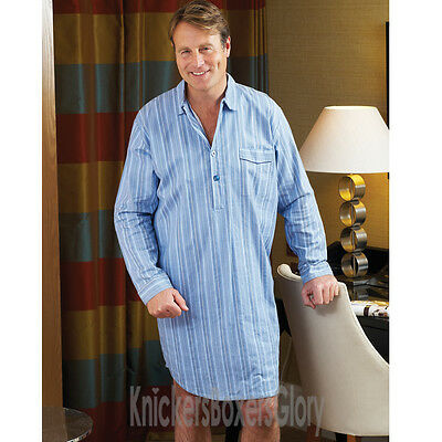 Mens Long Sleeve Brushed Cotton Blue Stripe Nightshirt Size M, L, XL, XXL, XXXL