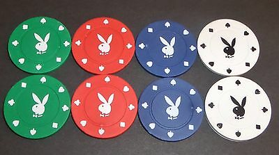 8 Chip Set Play Boy Bunny Rabit Poker Gaming Chips, Very Collectable Rare