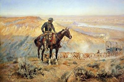 The Wagon Boss by Charles Russell Cowboy Western Covered Wagon Train 24x36