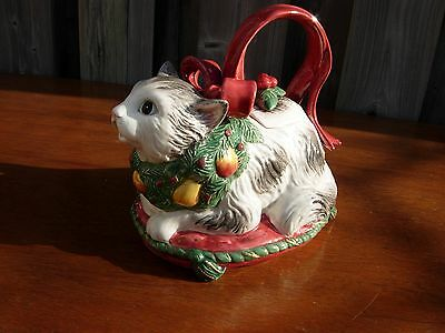 Fitz and Floyd Cat Teapot Christmas with Bow 1992 33 OZ.