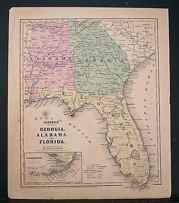 1860 2-Sided Colton Map, Southern States ,  Hand Color, Good Detail Original