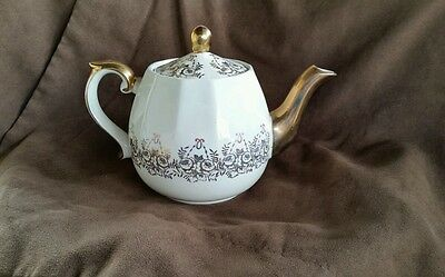 Genuine Ironstone Tea Pot from England Trimmed in gold